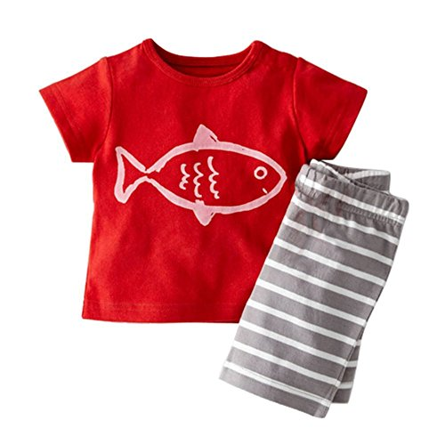 [Wenasi Kid Boy Summer Cotton Short T-shirt Top + Striped Pants 2Pcs Outfit Sets] (Xxl Santa Suits For Sale)