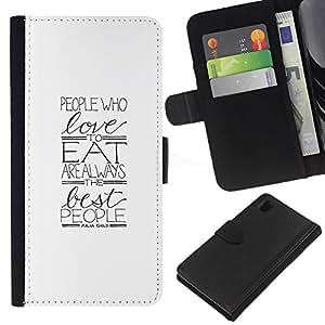 EJOY---La carpeta del tirón la caja de cuero de alta calidad de la PU Caso protector / Sony Xperia Z1 L39 / --Amor Regalo minimalista Alimentos Foodie