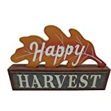 "11""L X 7.75""H Wooden Oak Leaf Happy Harvest Sign Halloween Decoration"