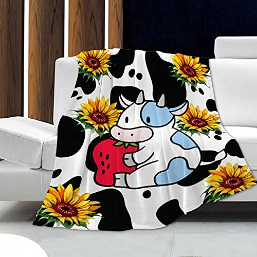 Angaja Cow Sunflower Flannel Blankets, Super Soft air-Conditioned Blankets for Sofa beds and Sofas are Suitable for All Seasons 40