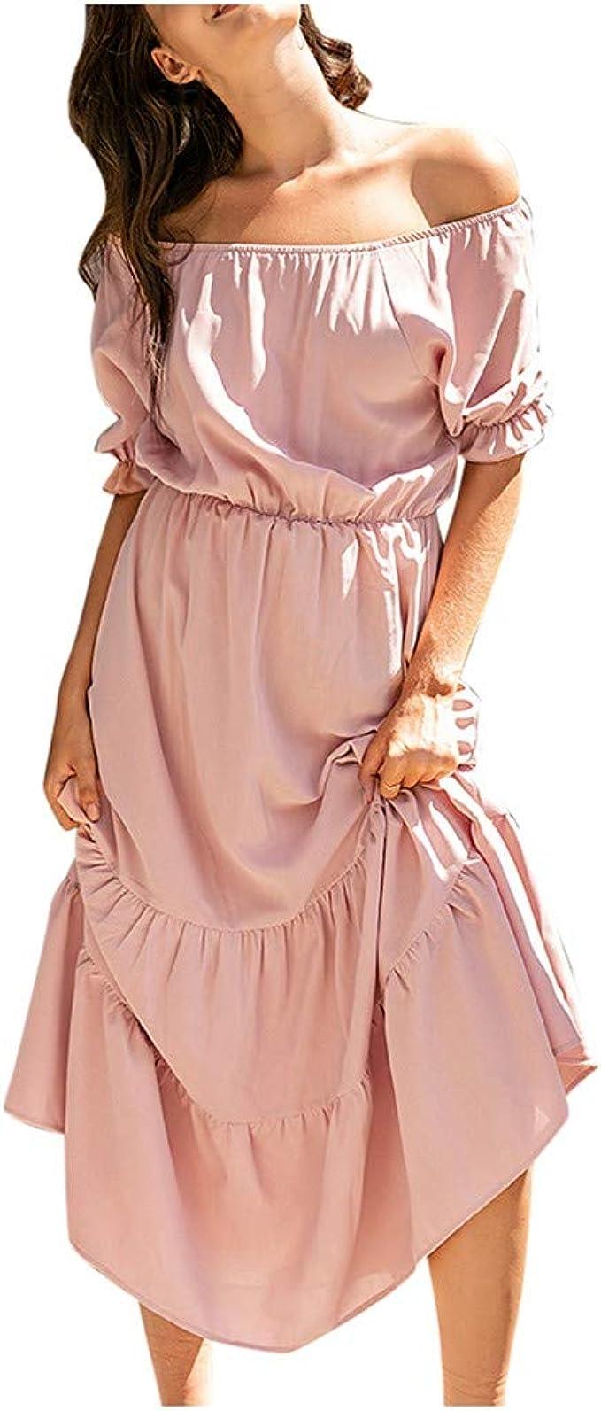 Elecenty Sommerkleid Damen,Reizvolle Schulterfrei Patchwork Kleider  Strandkleid Gummiband Kleider Frauen Minikleid Irregulär Lang Kleid Solide