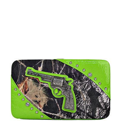 Expandable Green Wallet (MOSSY CAMO PISTOL LOOK FLAT THICK WALLET - GREEN)