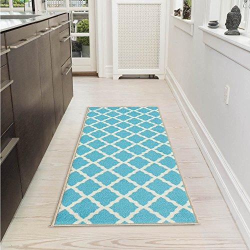 "Ottomanson Glamour Collection Contemporary Moroccan Trellis Design Lattice Runner Rug (Non-Slip) Kitchen and Bathroom Mat Rug, 20"" X 59"", Blue"