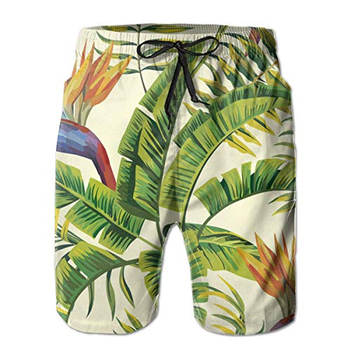 Sghyygcjs Hawaiian Plant Color Flowers Men's Print Quick-Drip Drawstring Holiday Swim Shorts with Mesh Lining Pockets White