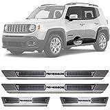 Soleira de Aço Inox Escovado Jeep Renegade 4 Portas 2016 17 18 19