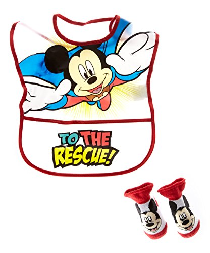 Disney Mickey Mouse Boy's Infant Bib, and Bootie Set [5011] ()