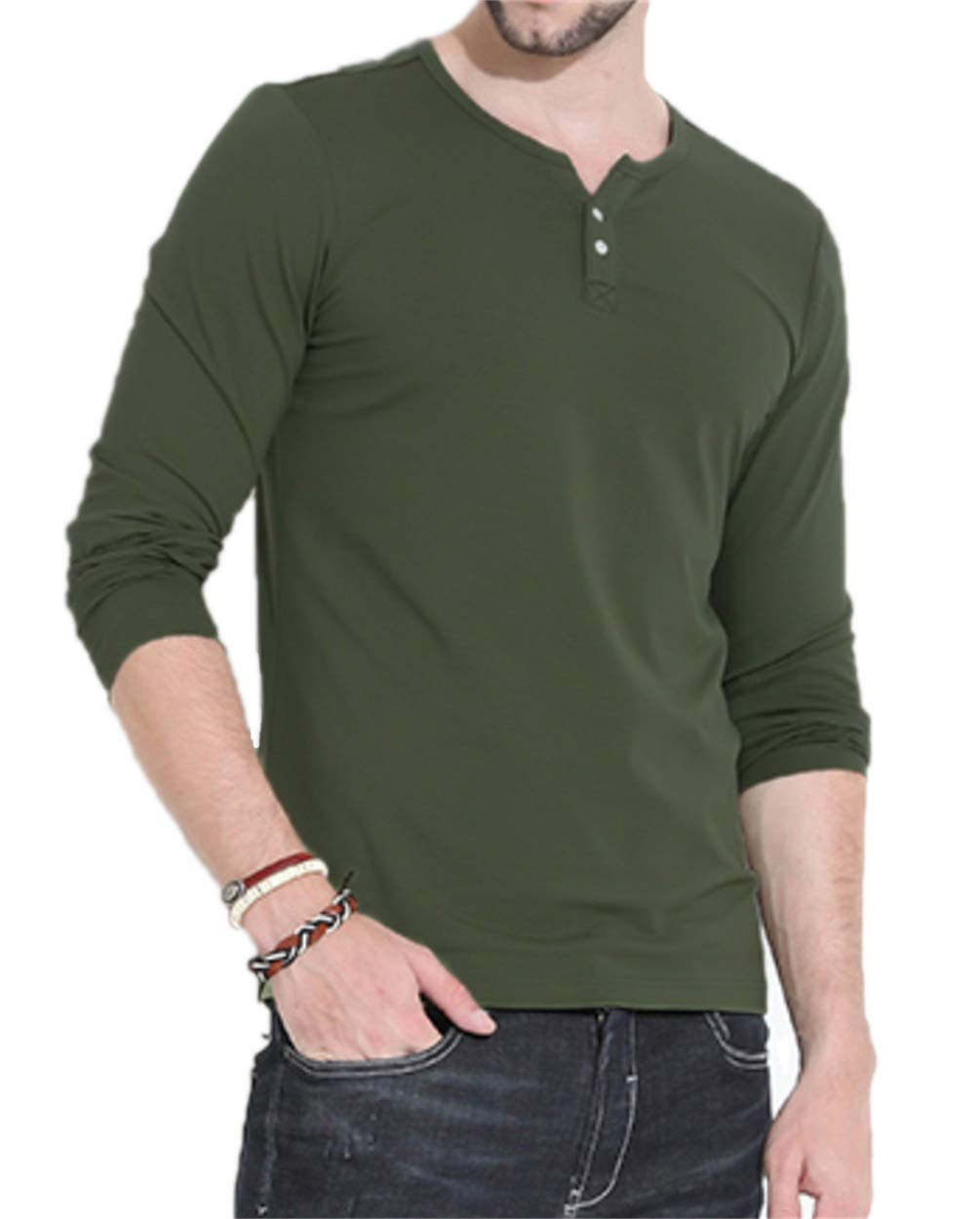 Aiyino Mens Casual Slim Fit Long Sleeve Henley T-Shirts Cotton Shirts US M-C Army Green