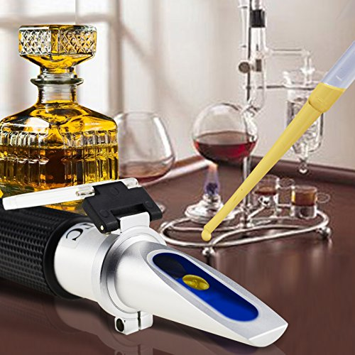 Optics Alcohol Refractometer 0-80% Volume Percent ATC, for Alcohol Liquor Production, Spirit Alcohol Measurement, Ethanol with Water, Distilled Beverages, Winemakers, with Extra LED Light & pipettes by TEKCOPLUS (Image #5)
