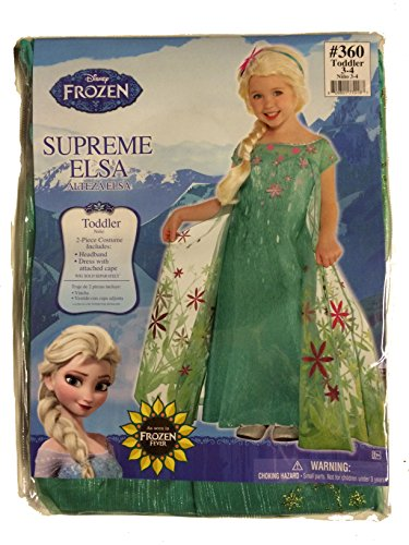 [Elsa Disney Frozen Fever Costume, 3T-4T] (Disney Elsa Costumes Dress)