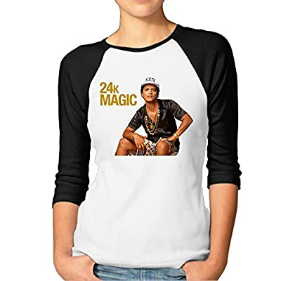 Zengshabi Women's Bruno Mars 24k Magic 3/4 Sleeve Raglan T Shirts