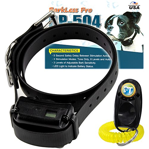 E-Collar BP-504 No Bark Dog Collar - Rechargeable, Humane, Safe, Waterproof, Automatic Learning System, Tone Only, 8 Adjustable Shock Levels for Anti Barking Control, PetsTEK Training Clicker