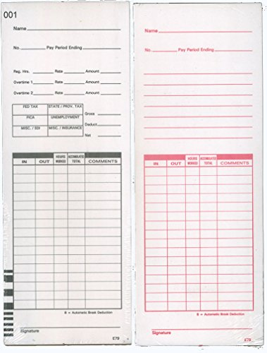 1000 Lathem E7 series compatible time cards (form E79) for Lathem 7000E / Lathem 7500E calculating time recorders, time card dimensions 3.375 inches wide, 9 inches long by Lathem