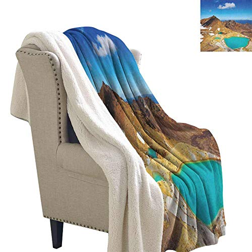 (New Zealand Winter Quilt Tongariro National Park Emerald Lakes and Mountains Natural Tourist Attractions Autumn and Winter Thick Blanket Multicolor W59 x L78)