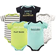 Luvable Friends Baby Infant Basic Bodysuit, 5 Pack, Future Baller, 9M(6-9 Months)