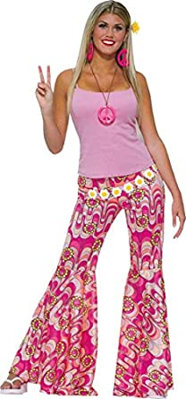 Hippie Costumes, Hippie Outfits Womens 70s 60s Hippy Fancy Dress Party Outfit Flower Power Bell Bottom Trousers $58.99 AT vintagedancer.com