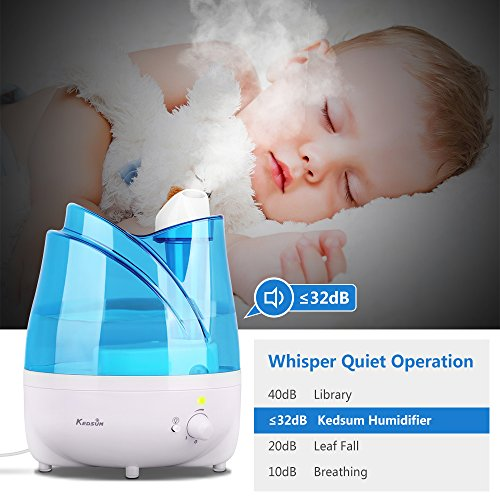 KEDSUM Ultrasonic Cool Mist Humidifiers,2L Ultrasonic Humidifier with Essential Oil Tray, Night Light Function, Waterless Auto Shut-Off,Whisper Quite, Adjustable Mist Dial Knob Control by KEDSUM (Image #4)