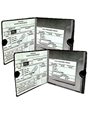 Car Auto Insurance Registration BLACK Document Wallet Holders - Automobile, Motorcycle, Truck, Vinyl ID Holder & Visor Storage - Strong Closure On Each - Necessary in Every Vehicle