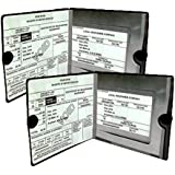 ESSENTIAL Car Auto Insurance Registration BLACK Document Wallet Holders 2 Pack - [BUNDLE, 2pcs] - Automobile, Motorcycle, Truck, Trailer Vinyl ID Holder & Visor Storage - Strong Velcro Closure On Each - Necessary in Every Vehicle - 2 Pack Set