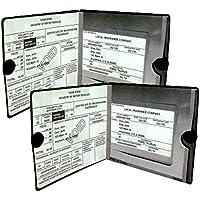 Essential Car Auto Negro Documento Wallet titulares de registro de Seguros 2Pack–[Bundle, 2pcs]–Automóvil, motocicleta, camión, trailer de vinilo ID Holder & Visor–Fuerte cierre de velcro de almacenamiento en cada–necesario en cada vehículo–2unidades