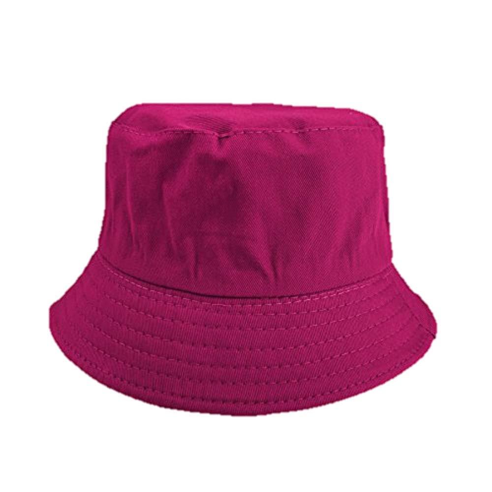 Opromo Kids Cotton Twill Bucket Hat, Children Summer Outdoor Sun Protection Hat-Hotpink-24 PCS