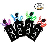 36-pcs Party Gift Favors for Kids – 12 Goody Bags: Each Bag includes 12 Whistles + 12x Sunglasses + 12x Emoji Bracelets - Great Prizes for Birthday, Loot Bags, Classrooms, Grab Bags, Doctor Office