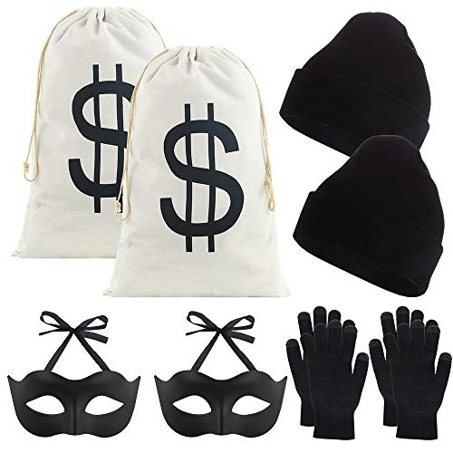 Halloween Party Bags Au (Auihiay 10 Pieces Robber Costume Set Include17 x 11 inch Canvas Dollar Sign Money Bags Bandit Eye Mask Knit Hat and Gloves for Halloween Cosplay Burglar Theme)