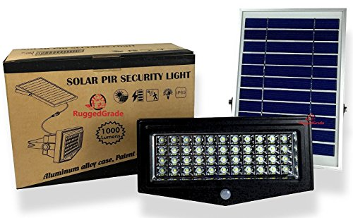 High Power 1000 Lumen Solar Motion LED Flood Light - 10 watts of High Power Light - Commercial Grade Flood Light - Adjustable Mount - Solar LED Floodlight - 8000mAh Rechargeable Battery - 4 Modes