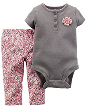 Baby Girls S/S Pointelle Rosette Bodysuit & Floral Jeggings Set