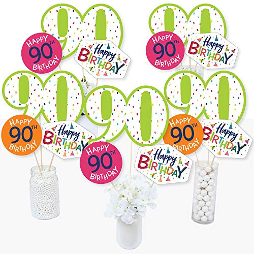 Colorful 90th Birthday Centerpieces - Set of 15