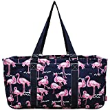 N. Gil All Purpose Open Top 23'' Classic Extra Large Utility Tote Bag 4 - 2017 Fall New Pattern (Navy Flamingo)