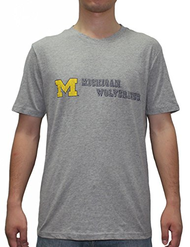 Mens MICHIGAN WOLVERINES Athletic Crew-Neck T-Shirt (Vintage Look) XL Grey