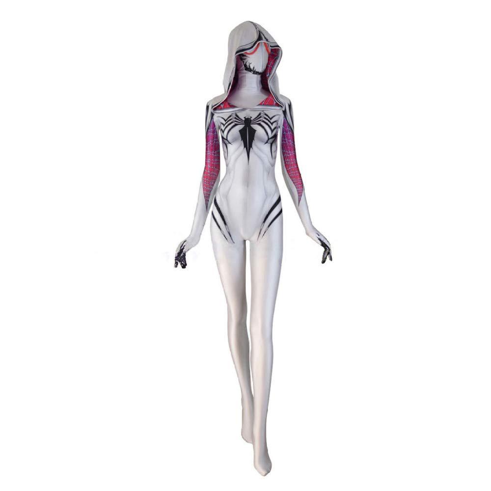 ASJUNQ Spider-Man Femmina Battlesuit Halloween Collant Siamesi Cosplay Fancy Dress Party Theme Party Puntelli di Film Nuovo,bianca-L