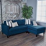 Windsor Two Piece Sectional Sofa Mid Century Danish Scandinavian Design (Navy Blue)