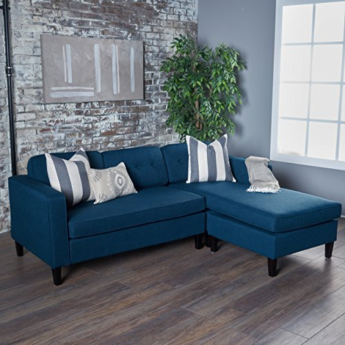 Genial Windsor Two Piece Sectional Sofa Mid Century Danish Scandinavian Design  (Navy Blue)