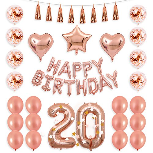 BALONA 40inch Rose Gold 20th Number Balloon 12inch Rose Gold Confetti Balloon with Happy Birthday Banner Star Balloon Heart Balloon Foil Rose Gold Tassel Garland for Birthday Party Decoration (Rose20) ()