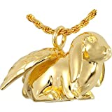 Memorial Gallery MG3102gp Bunny Lop 14K Gold/Sterling Silver Plating Cremation Pet Jewelry