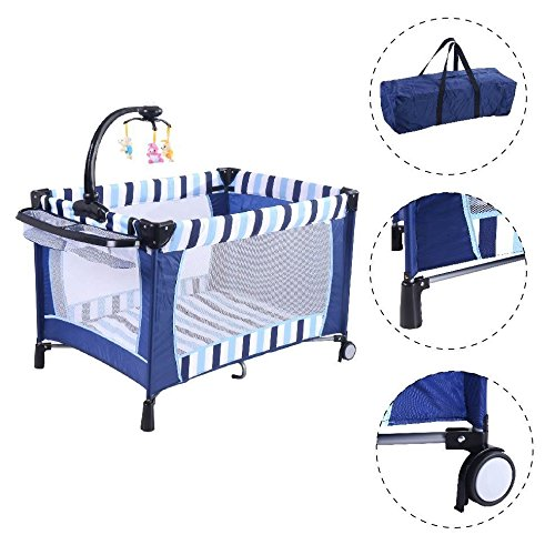 Baby Playpen Play Yard Bassinet Foldable Bed Travel Crib Newborn Infant Dark Blue Strip (Expresso Crib And Dresser Sets)