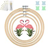 40 Pack Adjustable 4 Pieces 4 Sizes(5'',6'',7'',8'') Embroidery Hoop Set, Round Wooden Bamboo Circle Cross Stitch Hoop Ring, Embroidery Needles,Floss Bobbins,Flamingo Patches for Art Craft Sewing