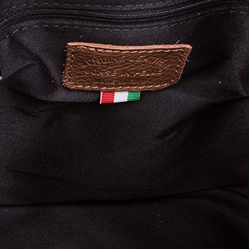 FIRENZE ARTEGIANI.Bolso de mujer piel auténtica.Bolso mujer cuero genuino,piel acabado Dollaro.Cierre cordón piel ajustable. MADE IN ITALY. VERA PELLE ITALIANA. 25x23x18,5 cm. Color: MARRON