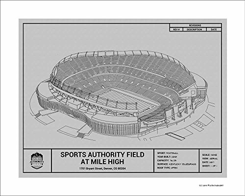 Denver Broncos Sports Authority Field at Mile High Blueprint Art - Stadium Nfl Broncos Denver