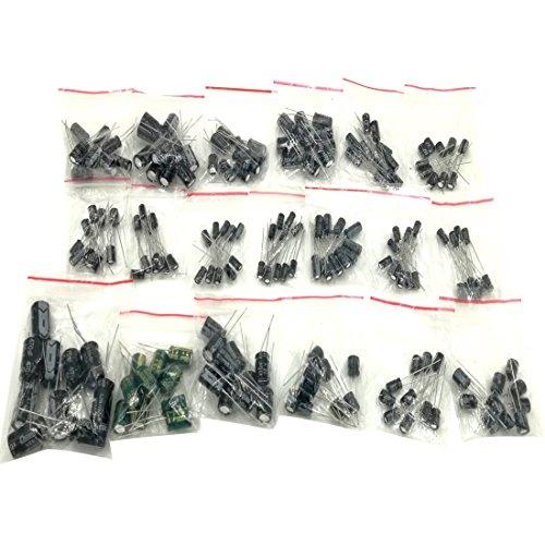 190pcs 19 Values Electrolytic Capacitors Assortment Kit 1uF to 1000uF