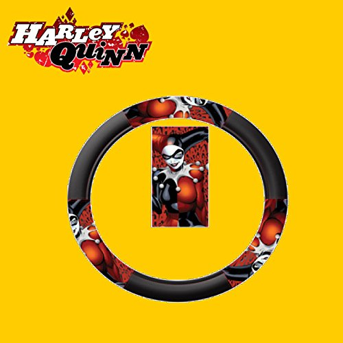 Yupbizauto 10 Pieces DC Comic Harley Quinn Car Seat Covers Floor Mats And Steering Wheel Cover