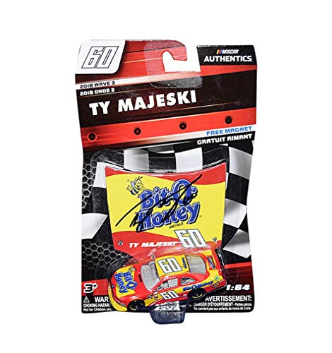(AUTOGRAPHED 2018 Ty Majeski #60 Bit-O-Honey Racing (Xfinity Series) Roush Team WAVE 3 NASCAR Authentics Signed Lionel 1/64 Scale NASCAR Diecast with Magnet & COA)