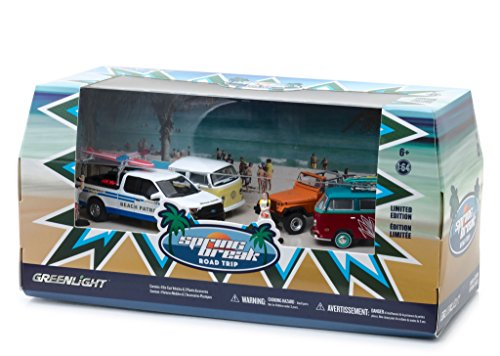 Road Trip Figurine - Spring Break Road Trip 6 pieces Set Multi Car Diorama with Figurines 1/64 Diecast Model Cars by Greenlight 58047