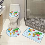 jwchijimwyc Map pattern Classical Colorful Map of World in Political Style Travel Europe America Asia Africa 3 Piece Toilet mat set Multicolor