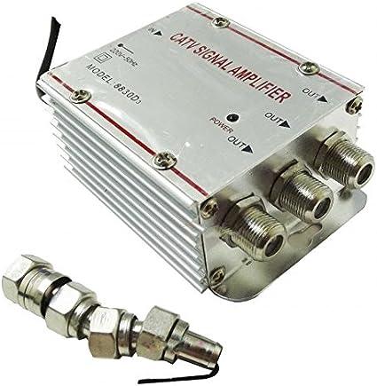 Takestop® Amplificador Señal TV D3 Bifurcador Antena 3 salidas Digital Terrestre