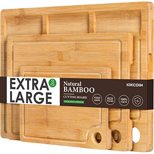 Bamboo Cutting Board for Kitchen, (Set of 3) Kitchen Chopping Board with 3 Built-In Compartments And Juice Groove Heavy…