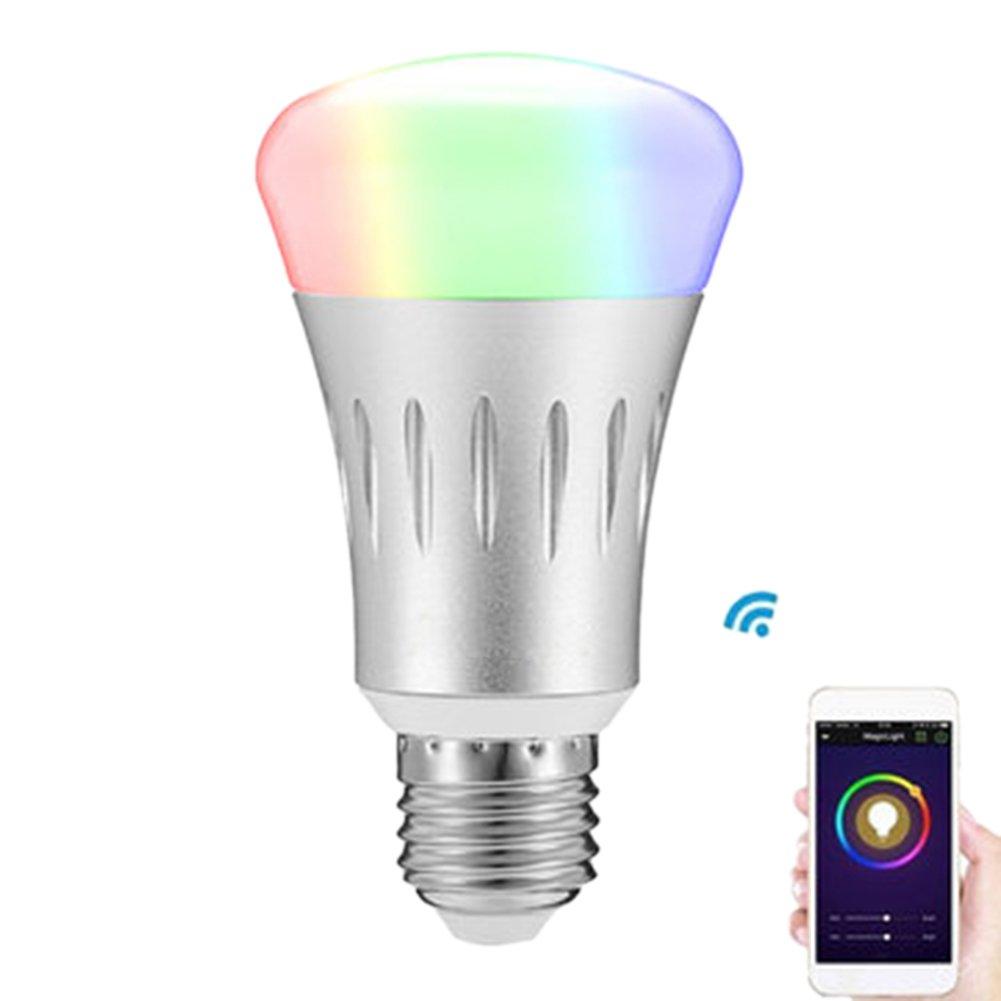 Wi-Fi Smart LED Light Bulb Works withAmazon Alexa RGB Bulb Smartphone Free APP Control, LED Light Wireless Smart Home Bulbs,Adjustable,Silver, 7W. (E27)