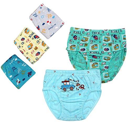 BOOPH Kids Boys Underwear 5 Pack Assorted Car Plain Print Toddler Boy Cotton Briefs Shorts 2-3 Year (Car Plain)