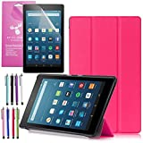 Amazon Fire HD 8 Case (2017 7th Gen), EpicGadget(TM) Smart Cover Auto Sleep / Wake Premium Leather Folding Folio Case For Fire HD 8, 8 HD Display Tablet + Fire HD 8 Screen Protector (Hot Pink)